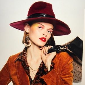 TopShop Rockit Wool Felt Panama Hat- Wine- NWOT